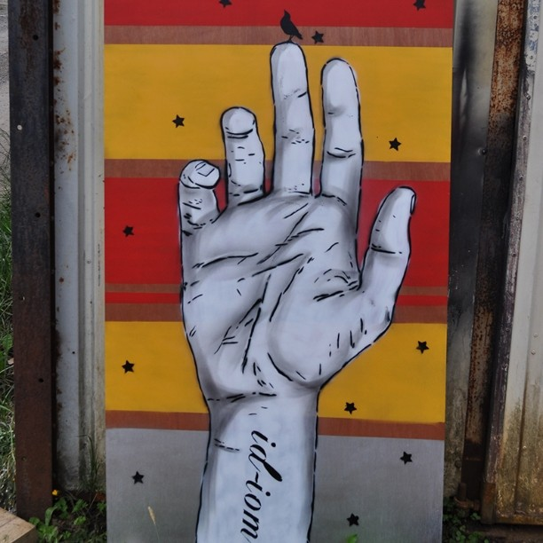 A bird in the hand. #pootopia #stencil