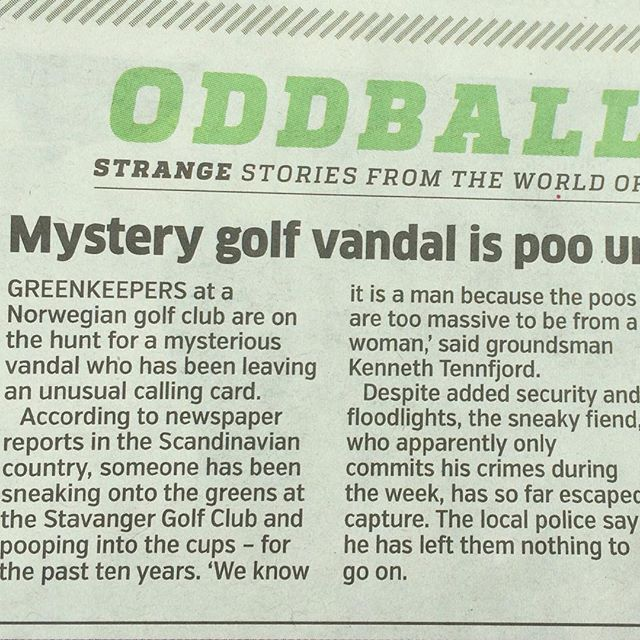 """Love this story in today's metro newspaper. """"The poos are too massive to be from a woman"""" ???? ?? ???? #pootopia #equalrights #sexualpooquality #womenmakebigstoolstoo #norway #stavanger #golf"""